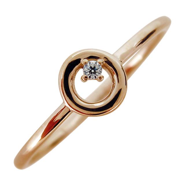 9日1:59迄 指輪 リング レディース ダイヤモンド オシャレ 華奢 重ね付け 18金
