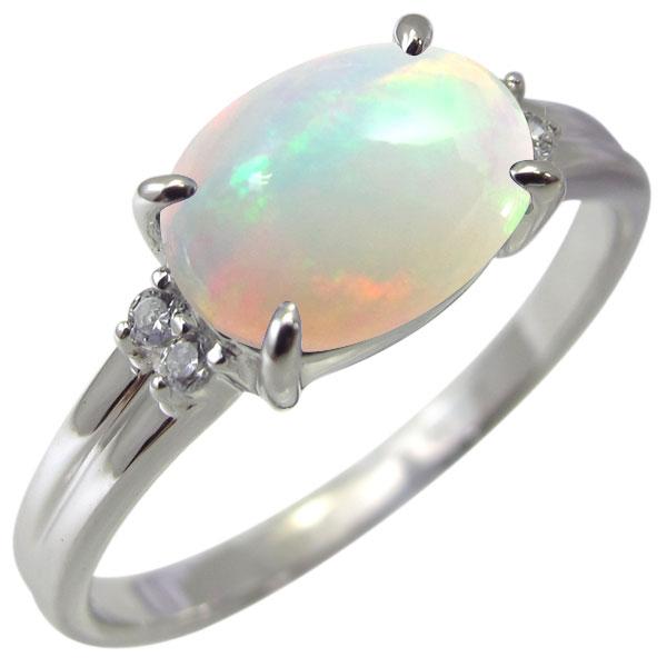 プラチナ 指輪 オパール リング レディース 大粒 10月誕生石 大人 おしゃれ