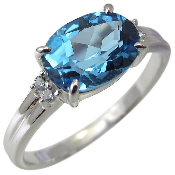 プラチナ 指輪 ブルートパーズ リング レディース 大粒 11月誕生石 大人 おしゃれ