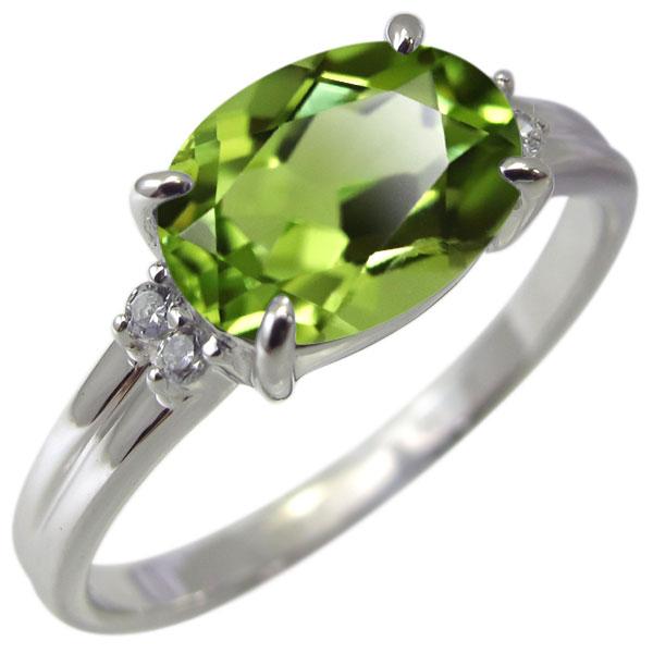 プラチナ 指輪 ペリドット リング レディース 大粒 8月誕生石 大人 おしゃれ