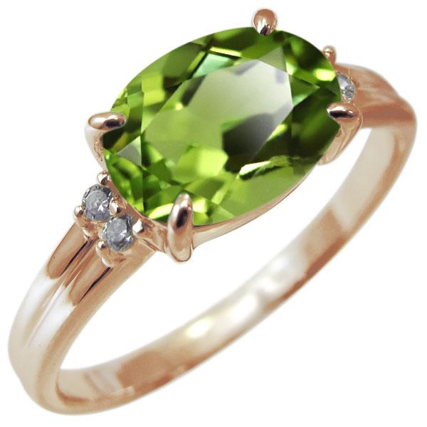 指輪 レディース ペリドット リング 18金 8月誕生石 大粒 30代 40代 50代 女性 プレゼント