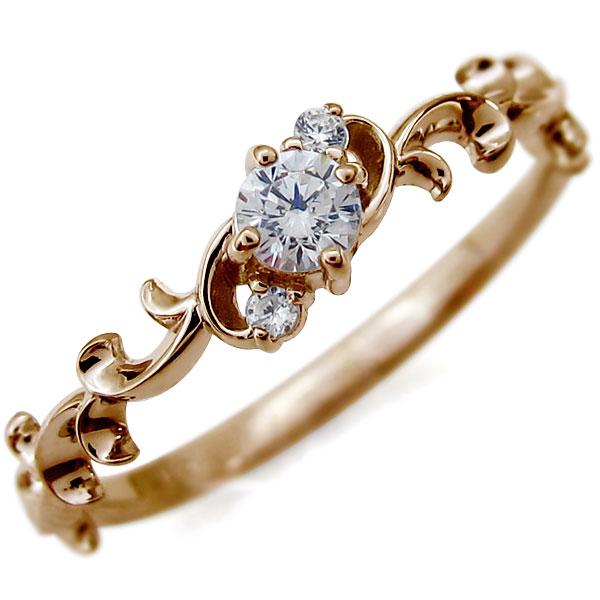 アラベスク・エンゲージリング・唐草・ダイヤモンド・婚約指輪・K10