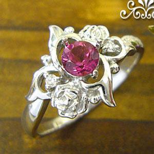 ルベライトリング K18 薔薇 ダイヤモンド付  ロマンティックローズ 指輪/ プラチナ変更可能