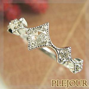 ダイヤモンド リング ローズカット K18 アンティーク ダイヤ型 エピーヌ 指輪