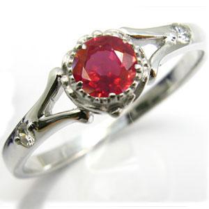婚約指輪・18金・リング・レディッシュサファイア・エンゲージリング