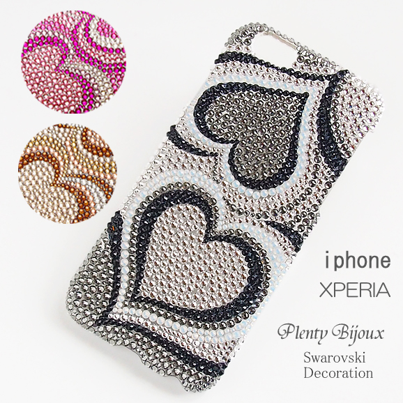 【送料無料】スマホケース スワロフスキーデコ iPhone8 iPhone7 iPhone6/6s XperiaZ5/Z4/Z3 AQUOS GALAXYケース ハートプッチ柄ブラック ピンク ゴールド スワロデコ キラキラ アイフォン アクセサリー 上品デコ iPhoneケース スマホカバーXpera X XZ XZs他機種対応