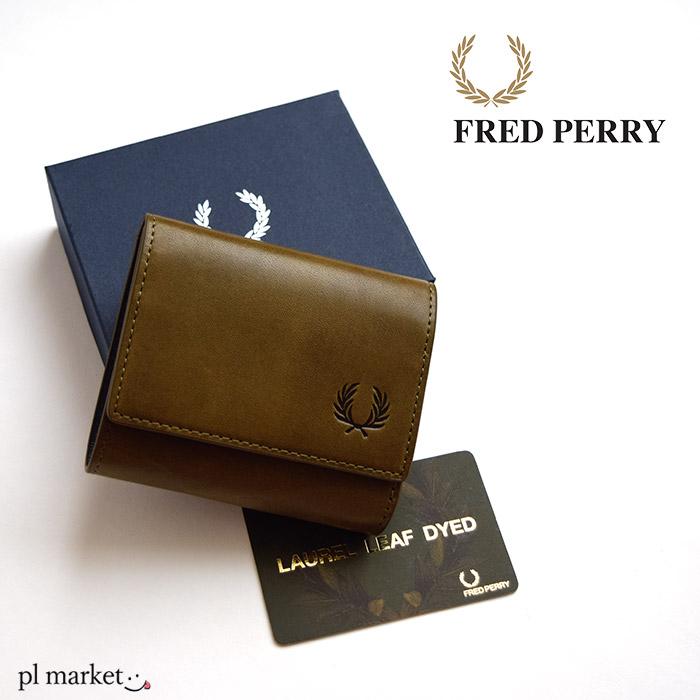 フレッドペリー FRED PERRY 三つ折り財布 ローレルリーフ ダイド レザー コンパクト ウォレット メンズ レディース セカンド財布 OLIVE カーキ F19920