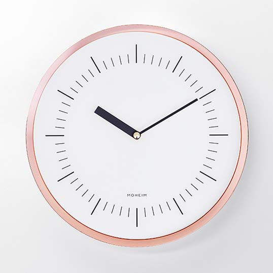 MOHEIMHORN (COPPER)ウォールクロック壁掛け時計インテリアリビングダイニングキッチン玄関送料無料銅メッキギフト プレゼント見る角度によって表情を変えるクロック