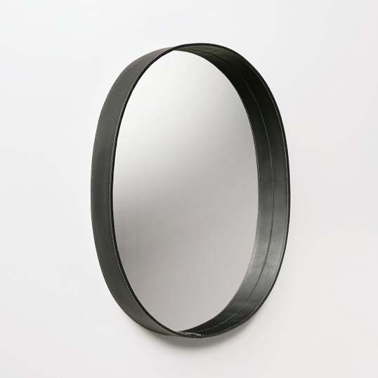 plottokyo: MOHEIM OVAL MIRROR (black) wall mirror oval leather frame ...