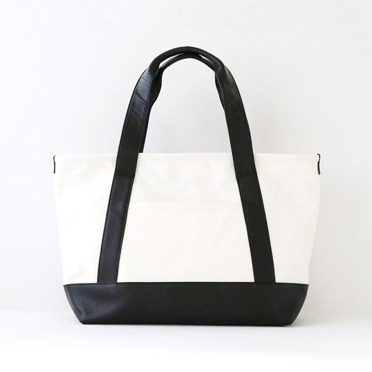 MOHEIM TOTE BAG (Mサイズ / ホワイト)トートバッグユニセックスベーシックカラー丈夫な帆布生地に牛革を合わせ、上品さを感じられる仕上がり通学 通勤スタンダードデザイン送料無料