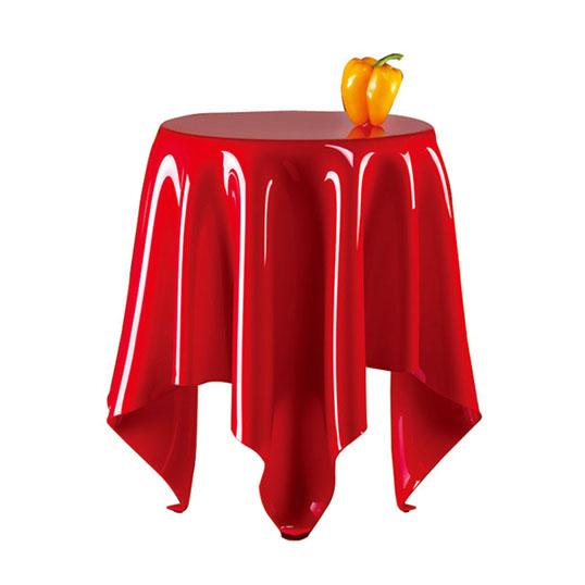 essey Illusion Redテーブルスクロスを広げたかの様なやわらかなフォルムのサイドテーブルハンドメイドテーブルお取り寄せ商品デザイナーズ家具送料無料インテリア