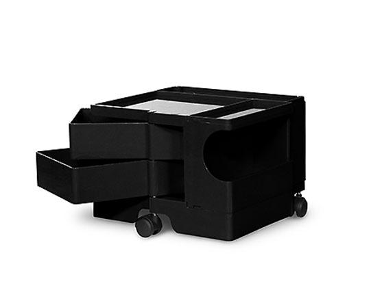 ボビーワゴン 1段2トレイ ブラック ジョエ・コロンボ イタリア MoMAパーマネントコレクション多機能ワゴンキャスター付ワゴン送料無料収納家具デザイナーズ家具インテリアリビング
