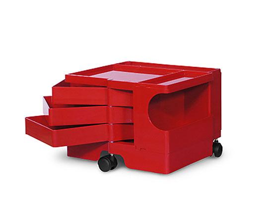 ボビーワゴン 1段3トレイ RED/レッド ジョエ・コロンボ イタリア MoMAパーマネントコレクション多機能ワゴン収納家具回転トレイインテリア送料無料キャスター付ワゴンプラスチック製