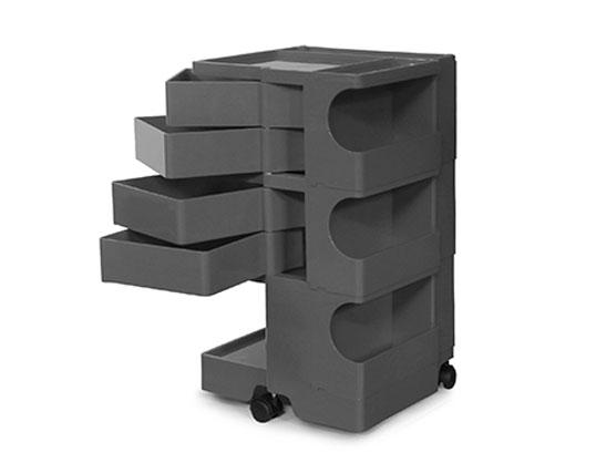 ボビーワゴン 3段4トレイ トルネードグレー ジョエ・コロンボ イタリア MoMAパーマネントコレクションB-LINE多機能ワゴン収納家具回転トレイ機能性デザイナーズ家具インテリア送料無料