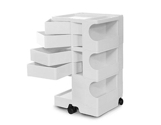 ボビーワゴン 3段4トレイ ホワイト ジョエ・コロンボ イタリア MoMAパーマネントコレクションB-LINE多機能ワゴンインテリアデザイナーズ家具送料無料サイドワゴンキッチン リビング