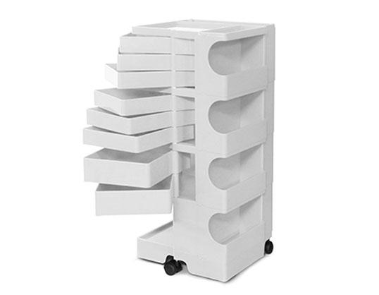 ボビーワゴン 4段8トレイ ホワイト ジョエ・コロンボ イタリア MoMAパーマネントコレクションB-LINE多機能ワゴン収納家具インテリアデザイナーズ家具送料無料キッチン リビング