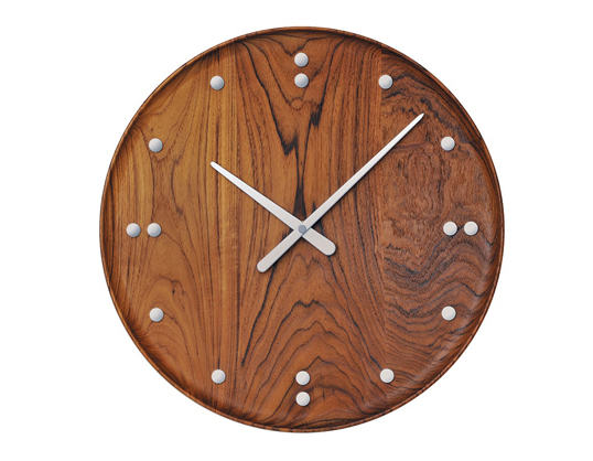 Finn Juhl / フィン・ユールフィン・ユール ウォールクロック壁掛時計インテリアミャンマー産チーク材送料無料北欧デザイントレイ状の文字盤デンマークデザイン