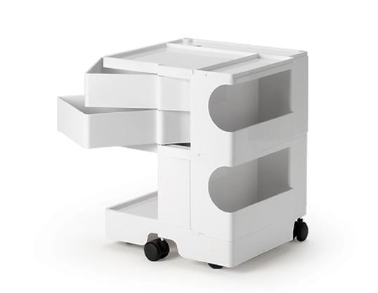 ボビーワゴン 2段2トレイ ホワイト 送料無料 ジョエ・コロンボ イタリア MoMAパーマネントコレクション収納家具ベッドサイドテーブル多機能ワゴンインテリアキャスター付ワゴンインテリアプラスチック製