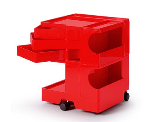 ボビーワゴン 2段3トレイ レッド 送料無料 ジョエ・コロンボ イタリア MoMAパーマネントコレクション収納家具多機能ワゴンキャスター付ワゴンインテリアロングセラーベッドサイドテーブルプラスチック製