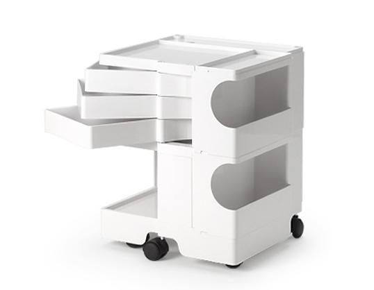 ボビーワゴン 2段3トレイ ホワイト 送料無料 ジョエ・コロンボ イタリア MoMAパーマネントコレクション多機能ワゴンキャスター付ワゴンキッチン リビング収納家具インテリアロングセラー