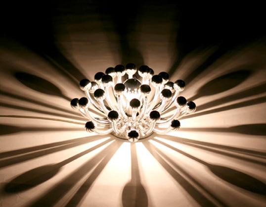ピスティリーノ テーブルライト 送料無料 イタリア製インテリアリビング放射線状の光ウォールランプクロームメッキ