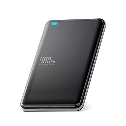 エレコム 外付けSSD ポータブル 480GB USB3.0 USB3.1 Gen1 代引き不可 名刺サイズ 軽量 小型 ESD-ED0480GBK TLC 海外輸入 ブラック