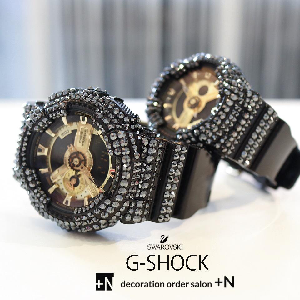 CASIO G-SHOCK カシオ Gショック ブラック カスタム スワロフスキー ペアウォッチ キラキラ プレゼントにおすすめ ギフト カップル 結婚祝い 夫婦 おそろい