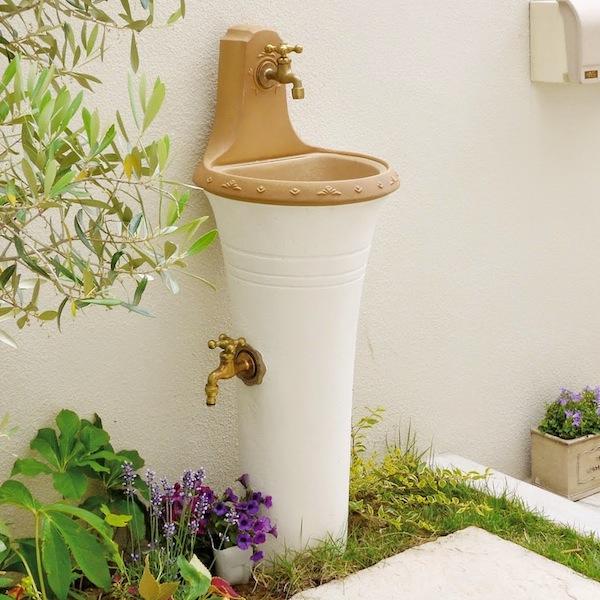 【立水栓 おしゃれ】スタンドウォッシュ カラー+蛇口&補助蛇口付き 送料無料