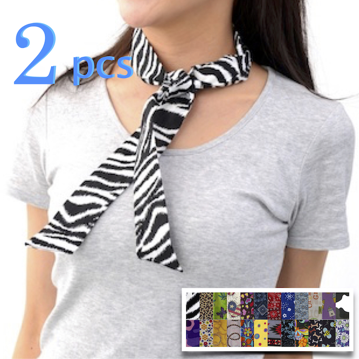 Blubandoo Neck Wrap Cooling Scarf 2 pcs Cooling Neckwear Cooling relief scarf print 100% cotton made in USA 【レターパック発送】で送料無料 首がひんやりタオル アメリカンコットン100%のクールスカーフ2本セット 暑さ対策 クールタオル