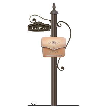 機能門柱+ポスト シャルルポール12Aセット(郵便ポスト+ポール+表札)ディーズガーデン 送料無料