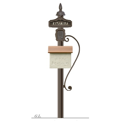 機能門柱+ポスト シャルルポール14Cセット(郵便ポスト+ポール+表札+インターホンカバー)ディーズガーデン 送料無料