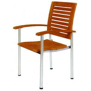 スタッキングアームチェアー オイル加工なし チーク材 庭向けの椅子・ガーデンチェアー
