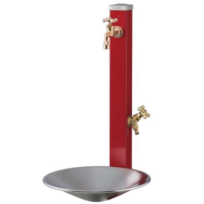 立水栓セット 2口 スプレスタンド 水受けパン+蛇口2口 手洗い場 外水栓 ガーデンパン 水栓柱 おしゃれ 送料無料