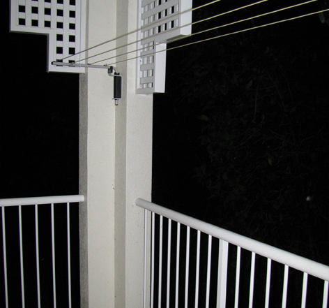 壁付け ロープ ヒモ型 物干し クロースライン 4連タイプ 送料無料