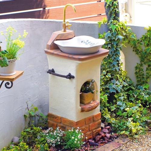 【立水栓 おしゃれ】 スタンドウォッシュ リリー+蛇口&補助蛇口付き 送料無料