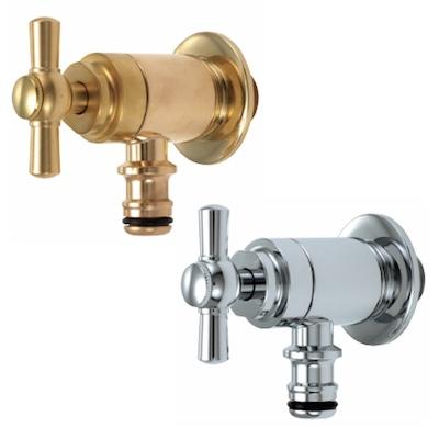 蛇口 Hシリーズ ホース接続ストレート・ホースアダプター一体型 立水栓向け飾り蛇口 固定コマ仕様