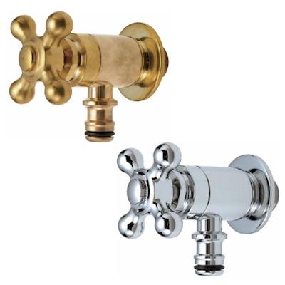 蛇口 Hシリーズ ホース接続クロス・ホースアダプター一体型 立水栓向け飾り蛇口 固定コマ仕様