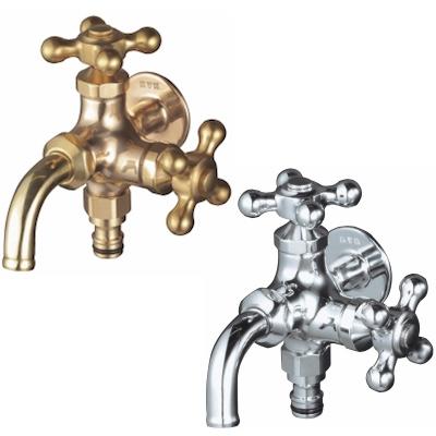 蛇口 Hシリーズ 二口蛇口・ホースアダプター付 立水栓向け飾り蛇口 固定コマ仕様