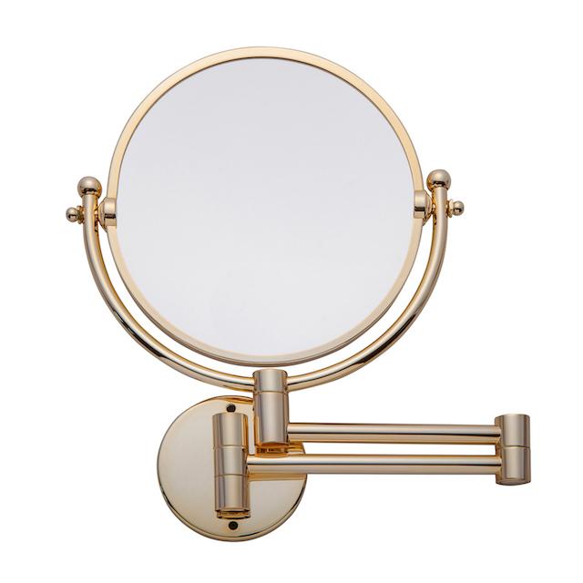 壁付けミラー 拡大鏡 3倍 伸縮折りたたみホテルミラー シャンパンゴールド 送料無料