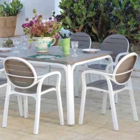 ガーデン家具 伸長式おしゃれアロロテーブル+パルマアームチェアー4脚セット送料無料