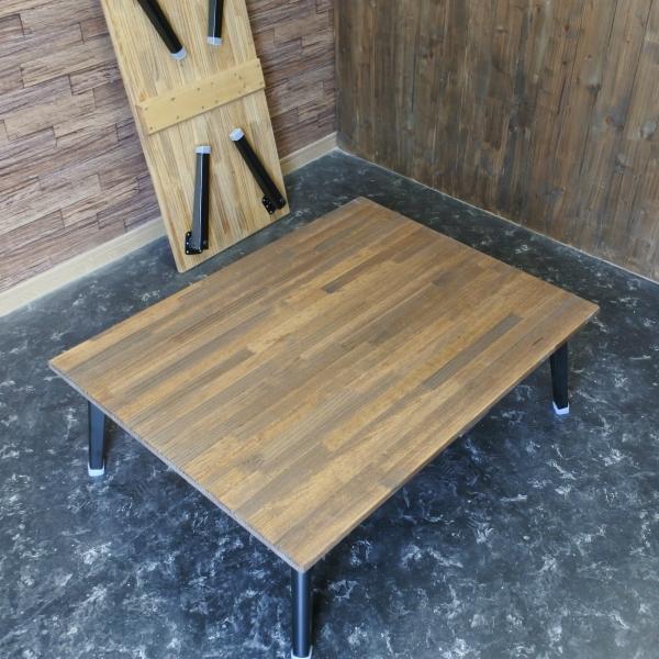 90cm×70cm 折りたたみカフェ風シンプルローテーブルアイアン脚