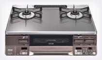 リンナイ ガステーブルコンロ RTS65AWG35R2N-DBL ラクシエ プライム ガラストップ 強火力:左 前面パネル ダークブラウン
