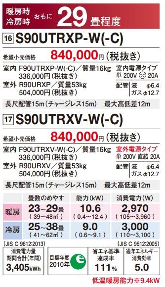 【保存版】 ダイキン(DAIKIN) ルームエアコン 「うるさら7」【S90UTRXP】RXシリーズ 29畳程度 室外電源タイプ200V ホワイト/ベージュ, BRANDSHOPクラージュ 70f623c1