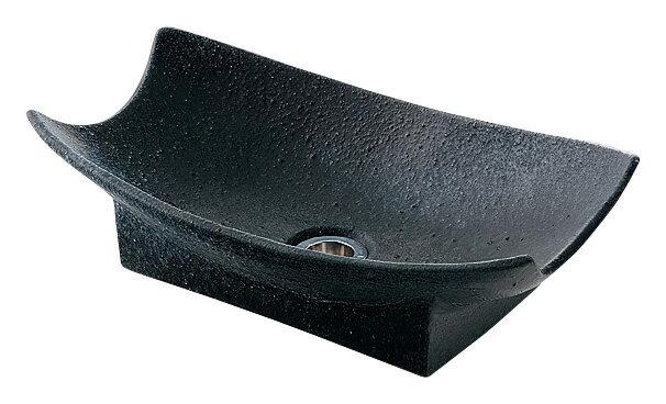 カクダイ 舟型手水鉢 ゴム栓なし サイズ420×240mm 濃茶 624-934 排水金具付