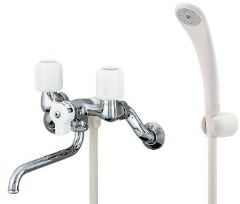 カクダイ 水栓金具 【1398SKK】 2ハンドルシャワー混合栓