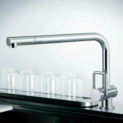 トーヨーキッチンスタイル (TOYO KITCHEN STYLE) 水栓 メタルホース付シングルレバ-混合水栓 クローム A89673BS-CR