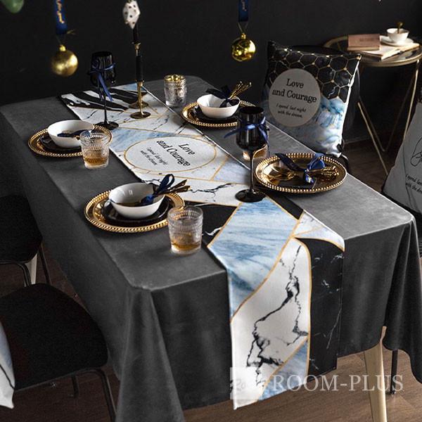 テーブルランナー 送料無料 大理石柄 ブルー テーブルマット テーブルクロス ダイニングテーブル 30cm×160cm 180cm 200cm 220cmtable-r0113 新生活