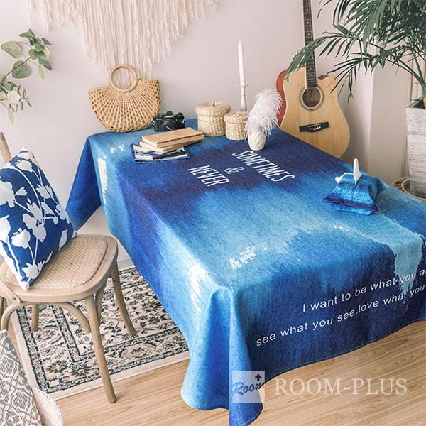 テーブルクロス ブルー ホワイト テーブルマット ダイニングテーブル 140cm×140cm 180cm 200cm 大理石柄 table-c0104 新生活