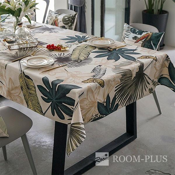 テーブルクロス ボタニカル グリーン テーブルマット ダイニングテーブル 140cm×140cm 180cm 200cm 大理石柄 table-c0105 新生活