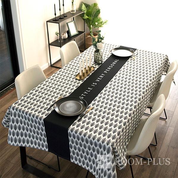 テーブルクロス おしゃれ モノトーン ホワイト ブラック 送料無料 テーブルマット ダイニングテーブル 140cm×180cm 200cm 240cm table-c0118 新生活